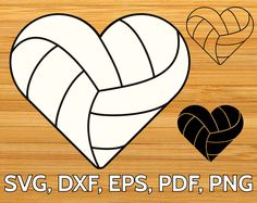 Volleyball heart shaped ball SVG file