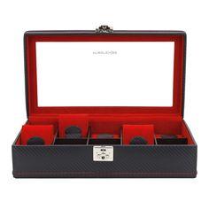 desiary.de - Uhrenkasten, Carbon f. 10 Uhren, schwarz