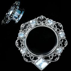 3915be74a PAIR-Stainless Steel Silver Ornate Tunnels Square Bottom CZ Gems-EAR GAUGES- EAR. So Scene