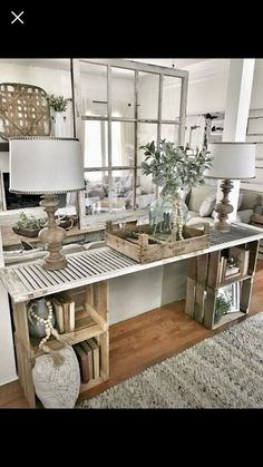 Easy DIY console table Bless this nest entrance area table hanging window decor . Easy DIY console table Bless this nest entrance area table hanging window decoration … – – Decor, Furniture, Farmhouse Decor Living Room, Home Living Room, Farm House Living Room, Interior, Home, Living Decor, Diy Console Table