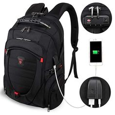 8cb0742344 Tzowla Travel Laptop Backpack Anti-Theft Water Resistant Business Backpack  TSA Lock   USB Charging