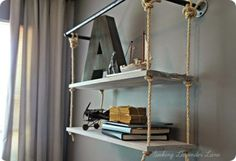 rope and pipe wall shelf