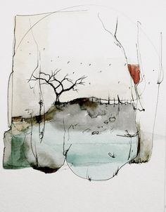 migratory cycle ~ watercolor and ink ~ by nava waxman Abstract Watercolor Art, Watercolor And Ink, Watercolor Paintings, Watercolor Landscape, Abstract Paintings, Watercolours, Illustration Art, Illustrations, Art Plastique