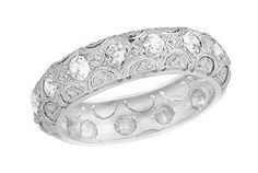 Art Deco Scalloped Vintage Filigree Eternity Diamond Wedding Band in Platinum - Size 7 1/2