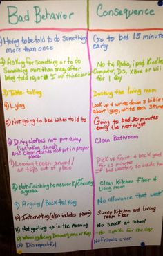 My consequence board we did for the kids last night. I have it hanging in the kitchen. And if they do something on the board, I ask them to go read the consequence, and that is their punishment. Time to straighten those two out.