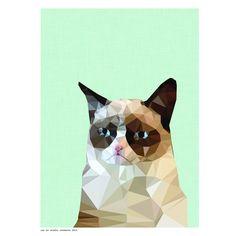Geometric Grumpy Cat print by Studio Cockatoo
