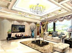 interior design watercolor rendering - Google Search