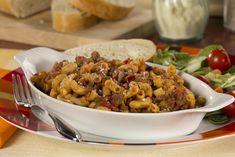 Easy One-Pot Goulash | MrFood.com    11/2 # hamb.  1 onion, 6 oz elbows, 2cbeef broth, 14oz diced tomatoes,  8 oz tomato sauce, 2t garlic powder, 1t.salt and 1/2 t pepper