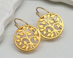 Gold Tree of Life Earrings, Gold  Vermeil - pinned by pin4etsy.com