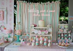 Shabby Chic Pink and Mint Baby Shower Full of Really Cute Ideas via Kara's Party Ideas | Cake, decor, cupcakes, games and more! KarasPartyId...