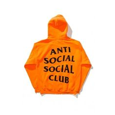 Unisex ANTI SOCIAL SOCIAL CLUB Letter Printed Back Hooded Long Sleeve... ($42) ❤ liked on Polyvore featuring tops, hoodies, long tops, orange hoodies, orange hooded sweatshirt, hooded hoodie and hoodie top