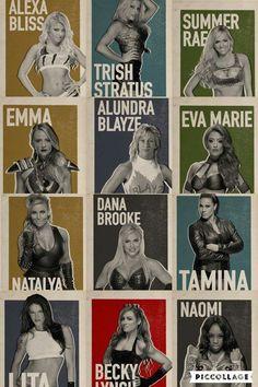 Alexa Bliss Trish Stratus Summer Rae Emma Alundra Blayze Eva Marie Natalya Dana Brooke Tamina Lita Becky Lynch & Naomi
