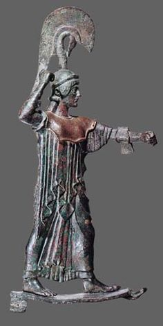 Athéna tenant lance & bouclier Acropole dAthènes bronze 450Av. JC