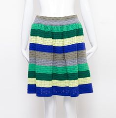 Blue and Green Striped Knit Skirt
