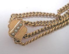 Victorian GF Watch Chain and Slide with 4 Pearls     Item No: 14081