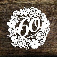 Papercut Template Floral Wreath 60 Birthday Wedding