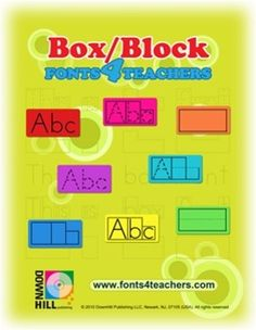 Word Shape Box/Block Fonts  Set of 8 box-fonts will help students quickly and easily acquire handwriting and spelling skills. Students will also learn with these boxes fonts software: letter form, word shape, space, and proportion with ease.  Teachers can create hundreds handwriting and spelling worksheets in seconds! From student's names to the alphabet…