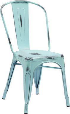 Industrial Style Antique Green Blue Metal Restaurant Chair For  Indoor Outdoor