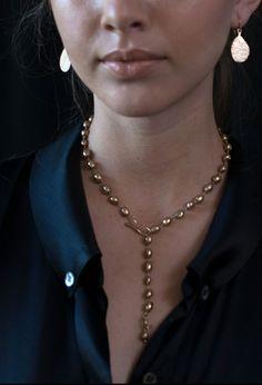 Julie Cohn Design - Bronze Helena necklace with Hammered Teardrop earrings.