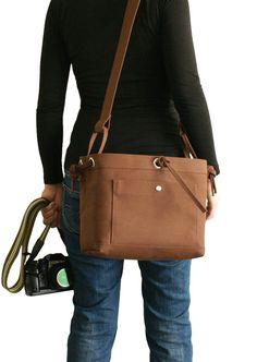 Medium Studio Camera Bag - water-repellent durable canvas & 6 exterior colors - Brown. $118.00, via Etsy.