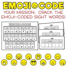 Emoji Code Dolch Sight Words: Primer Dolch Words - Crack the Emoji Code! School Age Activities, Sight Word Activities, Book Activities, Emoji Codes, English Phonics, Dolch Sight Words, Phonics Reading, Coding For Kids, Recording Sheets