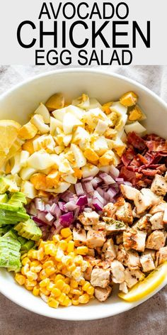 Easy Avocado Chicken Egg Salad Recipe Avocado Chicken Egg Salad Egg Salad with avocados chicken corn bacon and a creamy lemon dill dressing Delicious just served on its. Chicken Egg Salad, Chicken Salad Recipes, Avocado Chicken Salads, Chicken Salad Recipe Easy Healthy, Simple Salad Recipes, Diabetic Chicken Recipes, Low Carb Chicken Salad, Healthy Chicken Dinner, Recipe Chicken