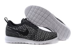 Mens Nike Flyknit Rosherun Black Shoes
