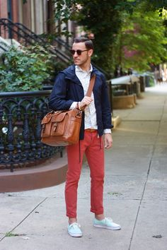Red pants can add a color splash and a colorful twist to your ...