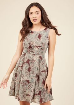 I Rest My Grace A-Line Dress in Earthy Paisley. Your style has been described in many fabulous ways - classic, timeless, oh-so-elegant - and this brown dress offers posh proof!  #modcloth