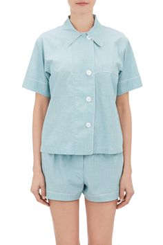 15 Pajama Sets Too Chic To Wear To Bed  #refinery29  http://www.refinery29.com/best-pajamas#slide-15  Wes Anderson vibes? Check. Spring pastels in an airy chambray? Check, check. ARAKS Shelby Pajama Shirt, $240 $59, available at Barneys Warehouse. ...