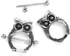 "Body Accentz® Nipple Ring Bars Owl Body Jewelry Shield 14 gauge 1"" BAR sold as pair Body Accentz Nipple Rings. $7.99"
