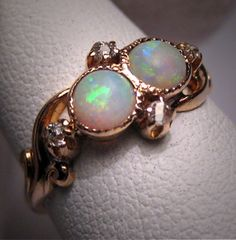 Antique Opal Diamond Ring Vintage Victorian Wedding Gold