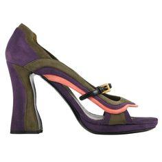 """PRADA Fairy Collection S/S 2008 """"Wave"""" Color-Block Suede Pumps Heels"""