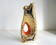 Vaso oro craquelé anni 60 di ceramica stile Fat di RosaGeranio