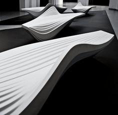 Zaha Hadid - Serac bench made of hard-wearing resin quartz, a durable engineered stone. Lab 23
