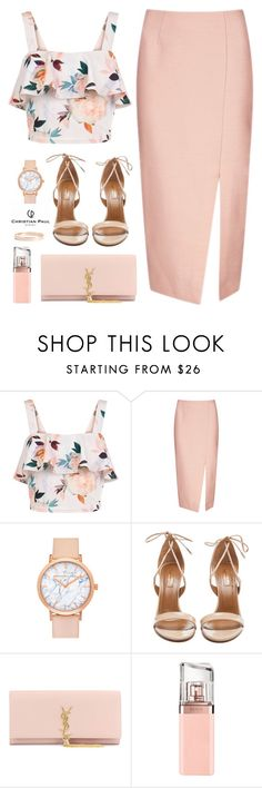 """Nude with C.P. Watch"" by ellyg91 ❤ liked on Polyvore featuring New Look, C/MEO COLLECTIVE, Aquazzura, Yves Saint Laurent, HUGO, Lana Jewelry and christianpaul"