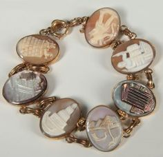 A Shell Cameo Link Bracelet Depicting The Seven Wonders