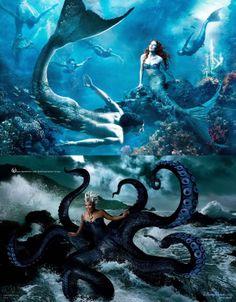 The Little Mermaid by Annie Leibovitz: Julianne Moore as Ariel, Michael Phelps as a Merman, & Queen Latifah as Ursula