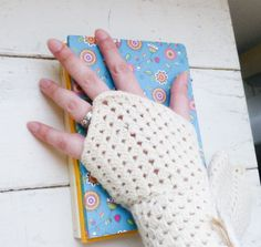 Crochet fingerless gloves crochet wrist warmers white fingerless gloves ready to ship winter wear women's gift idea accessory by SixthandDurianGifts