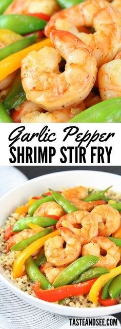 Garlic Pepper Shrimp Stir Fry - With snap peas and peppers coated in a yummy garlic pepper sauce, served over a hearty whole grain medley. A delicious and healthy meal! Seafood Pasta Recipes, Lobster Recipes, Fish Recipes, Asian Recipes, Beef Recipes For Dinner, Entree Recipes, Brunch Recipes, Shrimp Stir Fry, Healthiest Seafood
