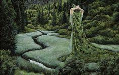 Surreal Paintings Cloak People in Landscapes by artist Moki - My Modern Metropolis