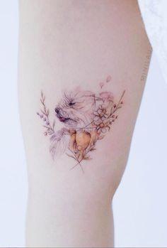 55 Unique Mini Tattoos Designs for This Summer - Lily Fashion Style Small Dog Tattoos, Tattoos For Dog Lovers, Mini Tattoos, Cute Tattoos, Body Art Tattoos, Tatoos, Chihuahua Tattoo, Poodle Tattoo, Simplistic Tattoos