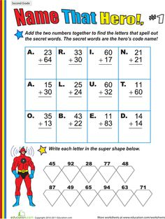 Worksheets: Name That Hero! Two-Digit Addition #1