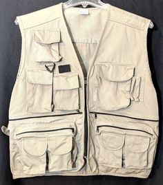 828b0cfc35ec8 Fishing Vest 12 Pocket Zip Up Adjustable Tan 100% Cotton Fisherman Fly  Fisher  fishing