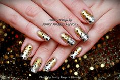 What I Used: Harmony Gelish – A-Lister Silver and Gold Nail Art Transfer Foils Konad White Special Nail Polish Moyou London Festive 08 plate