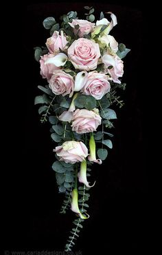 Rose and calla lily, waterfall bouquet