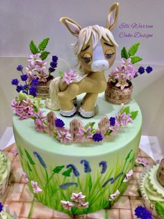Little Pony & flowers - http://cakesdecor.com/cakes/304290-little-pony-flowers