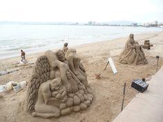 Malecon sand art or Esculturas de arena en el Malecón along the seaside walkway.  #sculptures #puertovallarta #vallarta #beaches