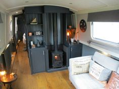 Narrowboat Interiors, Barge Interior, Interior Design, Canal Boat Interior, Solid Fuel Stove, Bus Living, Plates On Wall, Plate Wall, Arquitetura