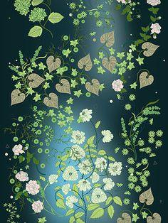 De Sousa Hughes > Wallcoverings > Christopher Farr CLOTH - Garden / Midnight Blue